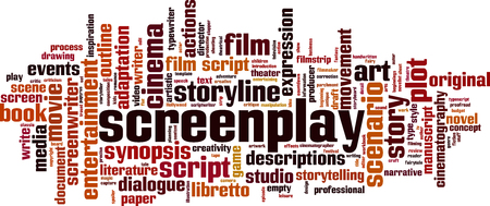Screenplay word cloud concept. Collage made of words about screenplay. Vector illustration