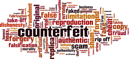 Counterfeit word cloud concept. Collage made of words about counterfeit. Vector illustration Иллюстрация
