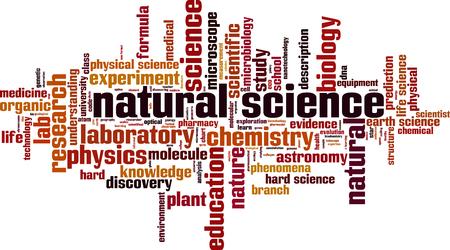 Koncepcja chmura słowa nauki przyrodniczej. Kolaż wykonany ze słów o naukach przyrodniczych. Ilustracja wektorowa