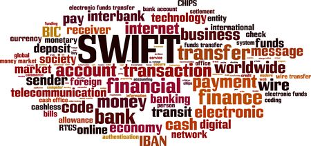 SWIFT word cloud concept. Collage made of words about SWIFT. Vector illustration Stock Illustratie
