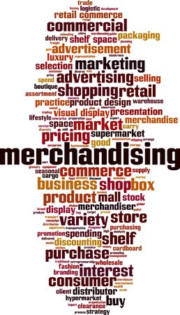 Merchandising word cloud concept. Collage made of words about merchandising. Vector illustration