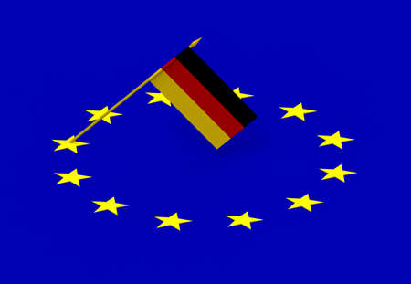 Flags of Germany and European Union, 3d render, isolated on white