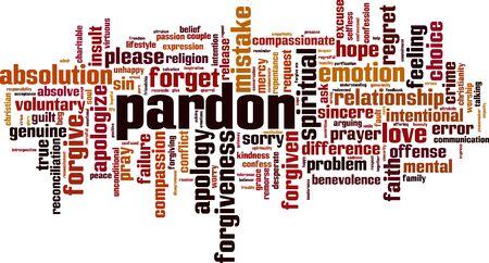 Perdonare il concetto di cloud di parola. Collage fatto di parole sul perdono. Illustrazione vettoriale Vettoriali