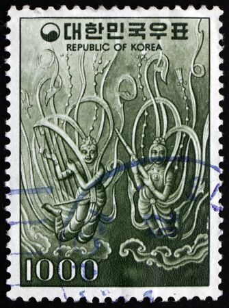 SOUTH KOREA - CIRCA 1977: a stamp printed in South Korea shows Flying angels from bronze bell from Sangwon-sa, 725 A.D., circa 1977
