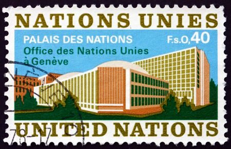 UNITED NATIONS - CIRCA 1972: a stamp printed in the United Nations, offices in Geneva shows Palace of Nations, Geneva, circa 1972