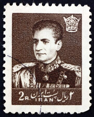 IRAN - CIRCA 1958: a stamp printed in the Iran shows Mohammad Reza Shah Pahlavi, Shah of Persia, circa 1958 新聞圖片