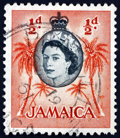 JAMAICA - CIRCA 1956: a stamp printed in Jamaica shows palm trees, circa 1956
