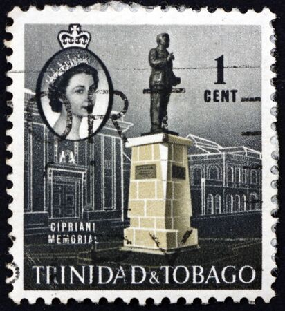 TRINIDAD AND TOBAGO - CIRCA 1960: a stamp printed in Trinidad and Tobago shows Cipriani memorial, Port-of-Spain, Cipriani was a Trinidad and Tobago labour leader and politician, circa 1960