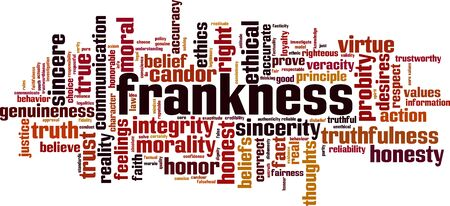 Frankness word cloud concept. Collage made of words about frankness. Vector illustration Illustration