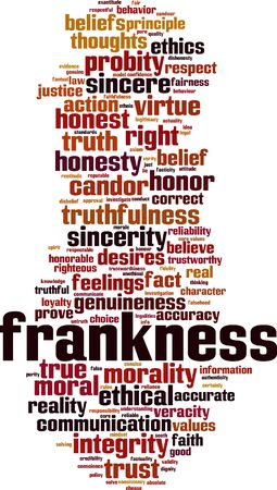 Frankness word cloud concept. Collage made of words about frankness. Vector illustration Иллюстрация