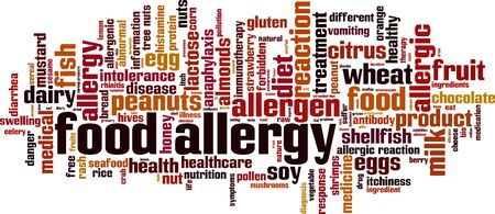 Food allergy word cloud concept. Collage made of words about food allergy. Vector illustration