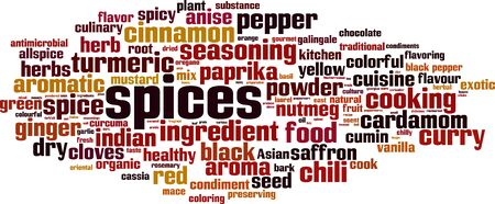 Spices word cloud concept. Collage made of words about spices. Vector illustration 일러스트