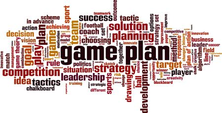 Game plan word cloud concept. Collage made of words about game plan. Vector illustration Çizim