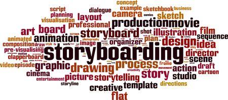 Concept de nuage de storyboard. Collage fait de mots sur le storyboard. Illustration vectorielle Vecteurs