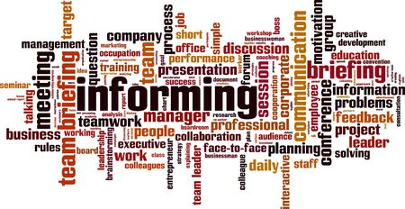 Informing word cloud concept. Collage made of words about informing. Vector illustration