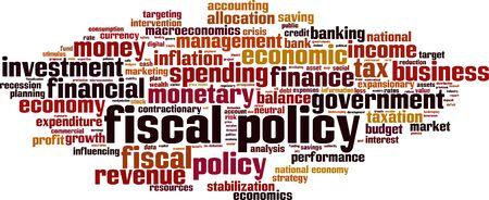 Concepto de nube de word de política fiscal. Collage de palabras sobre política fiscal. Ilustración vectorial