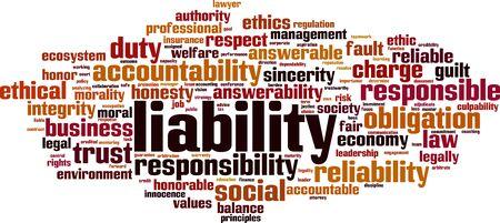 Liability word cloud concept. Collage made of words about liability. Vector illustration Vektoros illusztráció