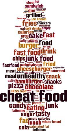 Cheat cibo parola concetto cloud. Collage fatto di parole sul cibo cheat. Illustrazione vettoriale