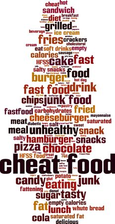 Cheat food word cloud concept. Collage made of words about cheat food. Vector illustration