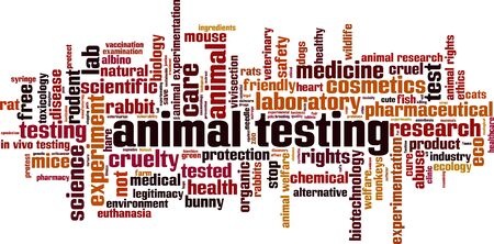 Animal testing word cloud concept. Collage made of words about animal testing. Vector illustration