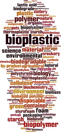 Bioplastic word cloud concept. Collage made of words about bioplastic. Vector illustration Illustration
