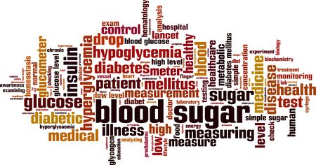 Blood sugar word cloud concept. Collage made of words about blood sugar. Vector illustration Ilustração