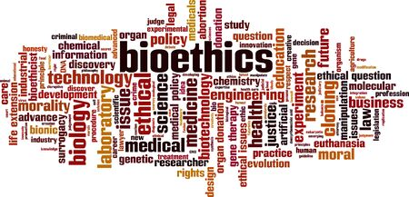 Bioethics word cloud concept. Collage made of words about bioethics. Vector illustration