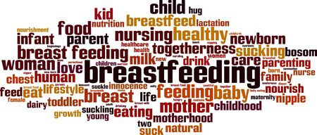 Breastfeeding word cloud concept. Collage made of words about breastfeeding. Vector illustration