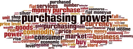 Purchasing power word cloud concept. Collage made of words about purchasing power. Vector illustration Illusztráció