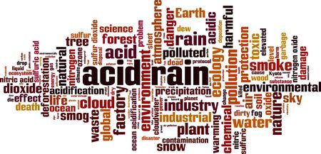 Acid rain word cloud concept. Collage made of words about acid rain. Vector illustration  イラスト・ベクター素材