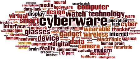 Cyberware word cloud concept. Collage made of words about cyberware. Vector illustration   イラスト・ベクター素材