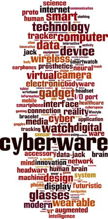 Cyberware word cloud concept. Collage made of words about cyberware. Vector illustration