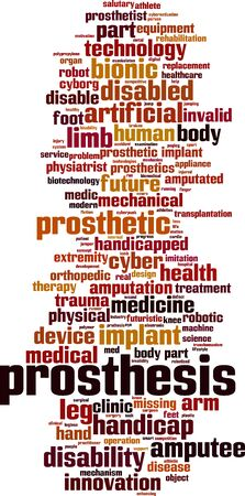 Prosthesis word cloud concept. Collage made of words about prosthesis. Vector illustration