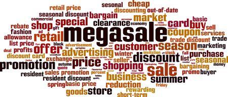 Megasale word cloud concept. Collage made of words about megasale. Vector illustration   イラスト・ベクター素材