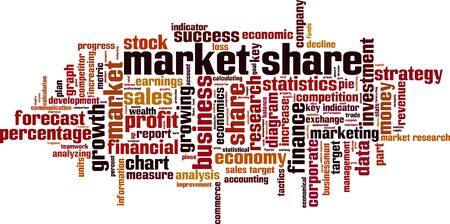 Market share word cloud concept. Collage made of words about market share. Vector illustration Banco de Imagens - 128916510
