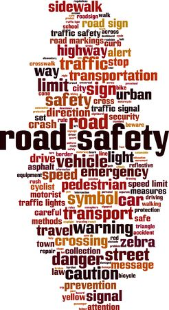 Road safety word cloud concept. Collage made of words about road safety. Vector illustration