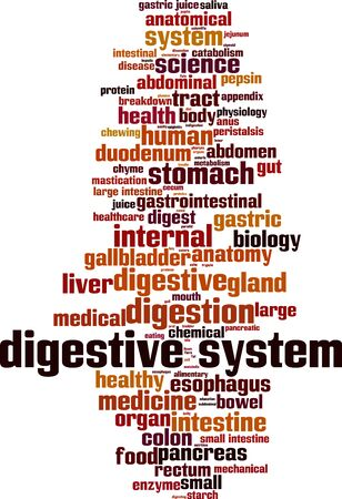 Digestive system word cloud concept. Collage made of words about digestive system. Vector illustration