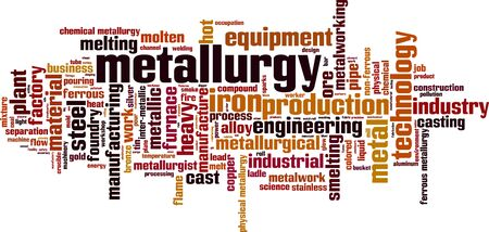 Metallurgy word cloud concept. Collage made of words about metallurgy. Vector illustration Çizim