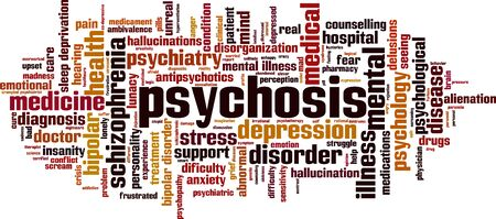 Psychosis word cloud concept. Collage made of words about psychosis. Vector illustration