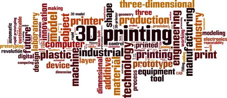 3D printing word cloud concept. Collage made of words about 3D printing. Vector illustration