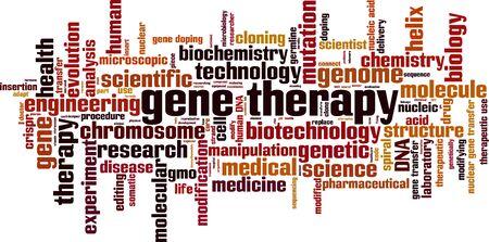 Concepto de nube de word de terapia genética. Collage de palabras sobre terapia génica. Ilustración vectorial