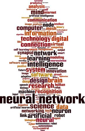 Neural network word cloud concept. Collage made of words about neural network. Vector illustration Illustration