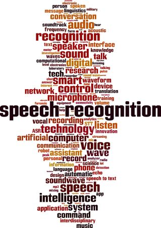 Speech recognition word cloud concept. Collage made of words about speech recognition. Vector illustration
