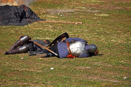 CROATIA KOPRIVNICA, 11 SEPTEMBER 2011:  Dead fighters after the battle, a Medieval Fair in Koprivnica, Croatia Editorial