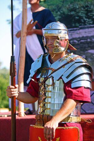 ZAGREB, CROATIA , SEPTEMBER 11, 2011:  armed Roman soldier, Roman show in Andautonia (todays Scitarjevo) near Zagreb, Croatia