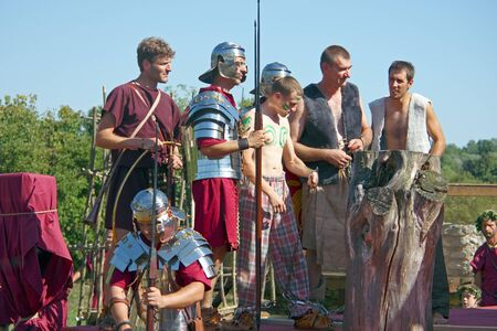 ZAGREB, CROATIA , SEPTEMBER 11, 2011:  slaves for sale, Roman show in Andautonia (todays Scitarjevo) near Zagreb, Croatia Editorial