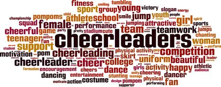 Cheerleaders word cloud concept. Collage made of words about cheerleaders. Vector illustration