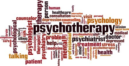 Psychotherapy word cloud concept. Collage made of words about psychotherapy. Vector illustration