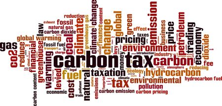 Carbon tax word cloud concept. Collage made of words about carbon tax. Vector illustration