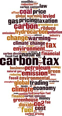 Carbon tax word cloud concept. Collage made of words about carbon tax. Vector illustration Фото со стока - 131235146